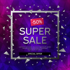 Banner super sale. Frame with black and white abstract geometric shapes around it on a blue background with abstract polygonal elements and dots.
