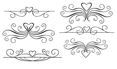 Wedding vignettes. Romantic vignettes. Vector collection of hand drawn borders in sketch style. Hearts and abstract dividers for your design.