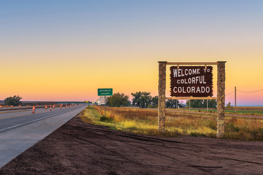 Welcome to colorful Colorado street sign along Interstate I-76