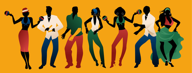 Salsa Party Time. Group of three men and four women dancing latin music. Two girls playing maracas and man playing the Claves. Wall mural