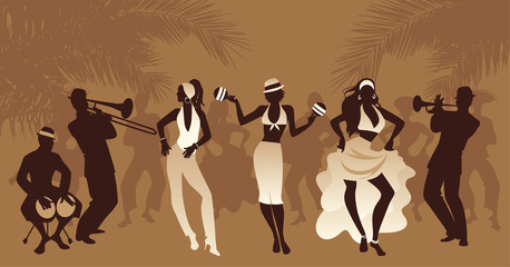 Salsa Party Time. Group of three girls dancing latin music and three musician playing bongos, trumpet and trombone. People and palm trees on the background