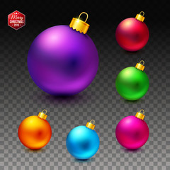 Vector image of Bright and luminous realistic Christmas balls.