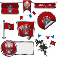 Glossy icons with flag of Arequipa, Peru