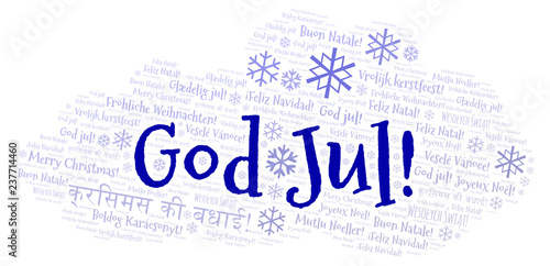 God Jul Word Cloud Merry Christmas On Swedish Language And Other