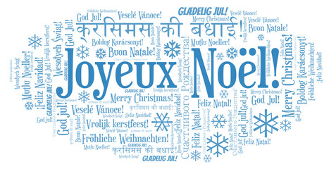 Joyeux Noël word cloud - Merry Christmas on French language and other different languages.