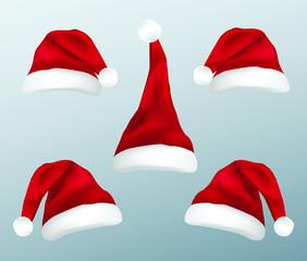 Set of four santa claus caps christmas concept