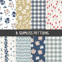 Set of natural farmhouse style seamless patterns for kitchenware and homeware, fabric and stationery design and decoration