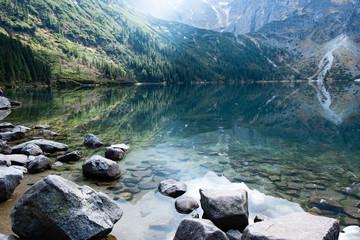 Mountain lake Morskie Oko in Tatra Mountains, Poland