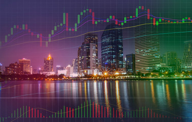 graph / Stock Forex graph statistic data bar chart volume trading market in busines city building