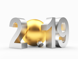 Silver number 2019 New Year and golden Christmas ball on white. 3D illustration