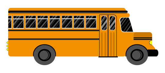 School bus. On a white background. Flat style. Vector