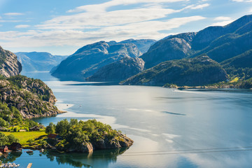 Norwegian fjord and mountains in summer Lysefjord, Norway