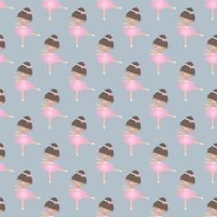 Seamless pattern with cute little ballerina. Vector illustration.