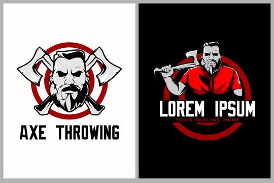 bearded man cartoon with axe for axe vector throwing logo or t-shirt design template