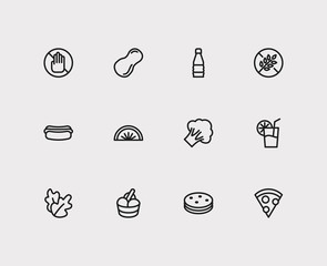 Nutrition icons set. Biscuit and nutrition icons with pizza, soda and ice cream. Set of baked for web app logo UI design.