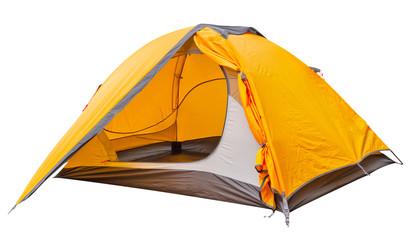 Orange open tourist tent
