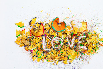 word Love over a shavings