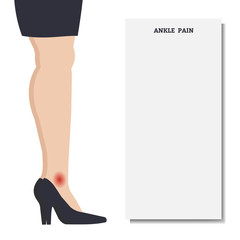 Woman with ankle pain. Place for text. Vector illustration.