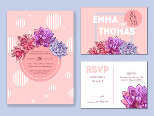 Floral wedding invitation set. Collection of different invite cards decorated with succulents. Save the date, rsvp vector cards. Botanical illustration.