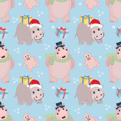 Christmas hippopotamus seamless pattern.