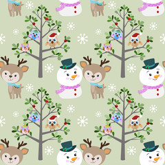 Cute snowman and deer with owl in winter