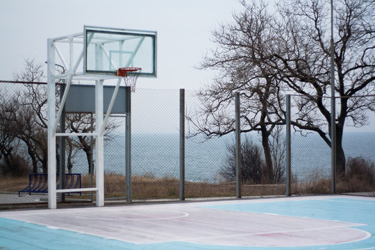 Outdoor basketball court by the sea