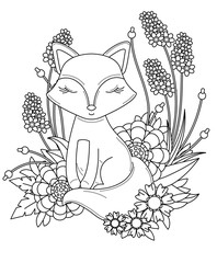 coloring book page for adult and kids. Cute little cartoon fox with abstract flowers and leaves