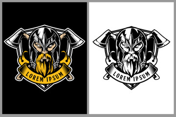 amazing warrior viking head with cross axe and shield vector badgeor crest logo template
