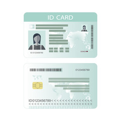 Personal identification card. ID card, identification card, identity verification, person data. Vector illustration.
