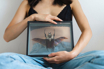 Close-up of young woman wearing bra holding picture frame with giant beetle