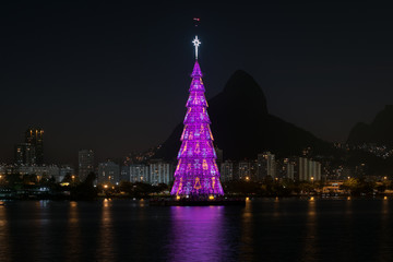 Wall Mural - Christmas Tree in the Lake in Rio de Janeiro at Night
