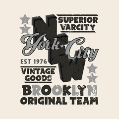 sport t-shirt, NYC vintage graphic, Brooklyn sport emblem,