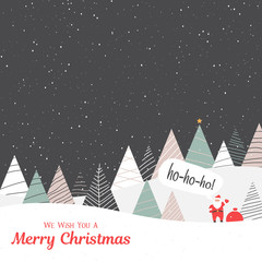 Merry Christmas card with Santa Claus with gifts in abstract fir forest.