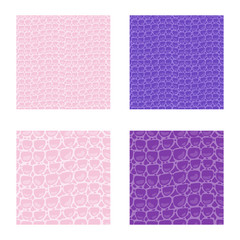 Set seamless pattern. Vector Leather Fashion texture pink and purple trandy background. Merry Christmas and New Year luxurious holiday design card.