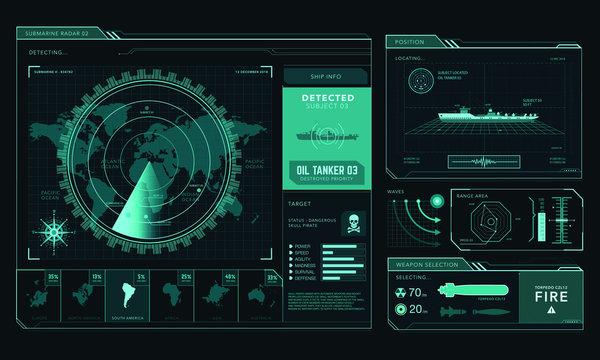 Radar screen, command center, game interface, ui