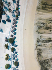 Indonesia, Lombok, Kuta, Aerial view of Seger beach, sunloungers and beach umbrellas from above