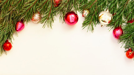 Christmas and New Year composition with decoration on white wooden background with copy space for your text