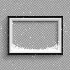 snowfalls on black and white frame