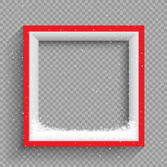 snowfalls on red and white frame