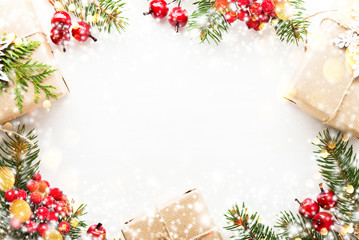 Christmas gifts on white background top view. Merry Christmas greeting card, frame. Winter xmas holiday theme. Happy New Year. Flat lay