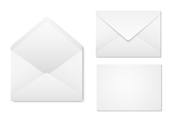 Blank paper envelopes for your design. Envelopes mockup front and back view. Vector envelopes template.