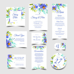 cute wedding invitation set of watercolor blue