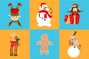 Set of Christmas icon: cute piglet hanging Christmas tree toy and deer, snowman, elf, gingerbread. New Year Day design element. For greeting cards, leaflets, brochures, invitations, posters.