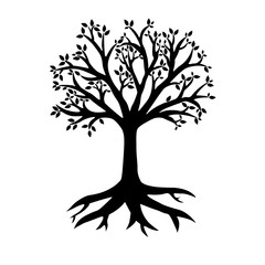 Silhouette of a vector tree with roots