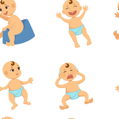 Baby toddler vector flat character seamless pattern.
