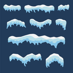 Snow caps isolated on blue background. Vector illustration.