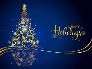 Modern gold on blue Christmas greeting card