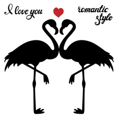 Vector set of flamingos silhouettes isolated on white background. Exotic bird with romantic hand drawn lettering. Black and white. Design for decoration, poster, card, invitation.