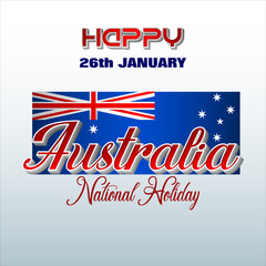 Holiday design, background with handwriting and 3d texts and national flag colors for 26th of January, Australia National day, celebration; Vector illustration