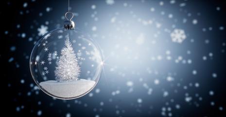 Glaskugel - Weihnachtskugel mit Kristallbaum